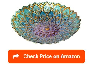 peaktop 3014051 mosaic flower fusion glass birdbaths